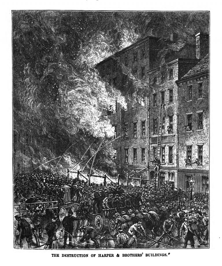 A tall New York City building set ablaze captioned: The Destruction of Harper & Borhters' Buidlings.