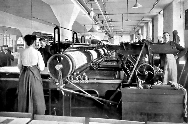 Factory floor with steam presses