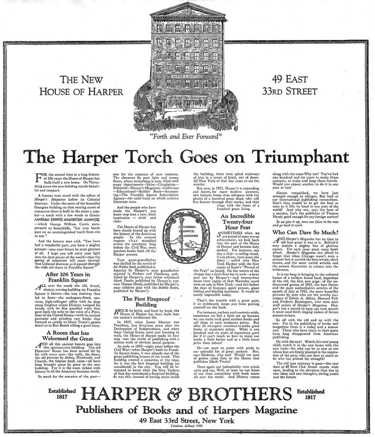 A 1923 New York Times advertisement placed by Harper & Brothers regarding its move from Franklin Square to 49 East 33rd Street in New York City.