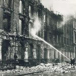 The 1940 destruction of the Collins Bridewell Place offices.