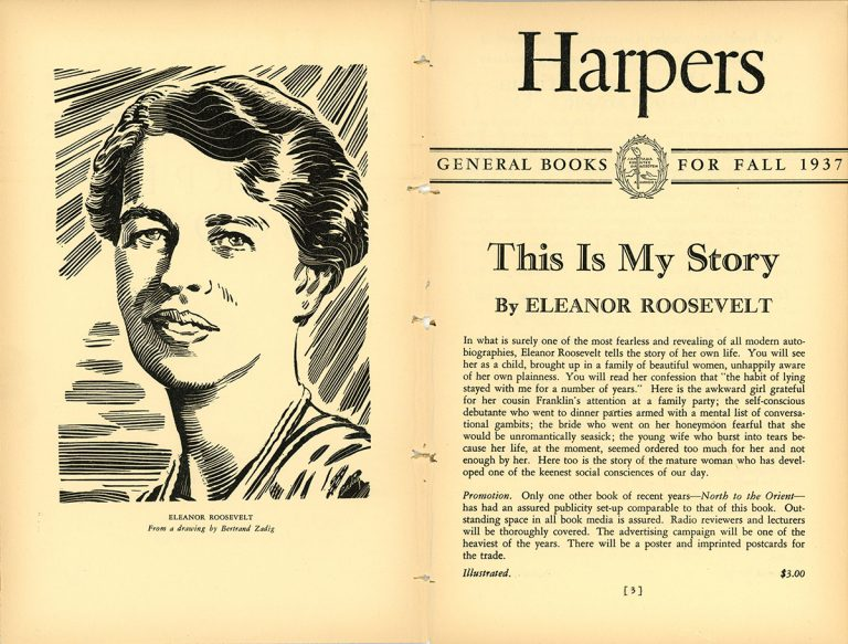 A page from the Fall 1937 Harper & Brothers catalog touting This Is My Story by Eleanor Roosevelt.