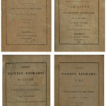 Title pages of several books featured in Harper's Family Library in the 1830s, including The History of the Bible and The Lives of Celebrated Travelers.