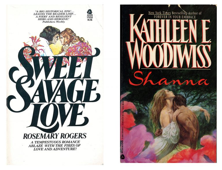 Two classic Avon romance titles, Sweet Savage Love by Rosemary Rogers (1974) and Shanna by Kathleen Woodiwiss (1977).