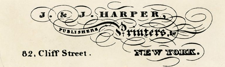 The logo and address for J. & J. Harper Publishers