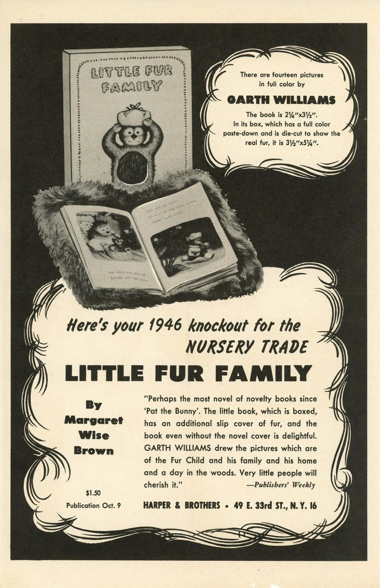 Marketing flyer promoting the 1946 publication of Little Fur Family, written by Margaret Wise Brown and illustrated by Garth Williams.
