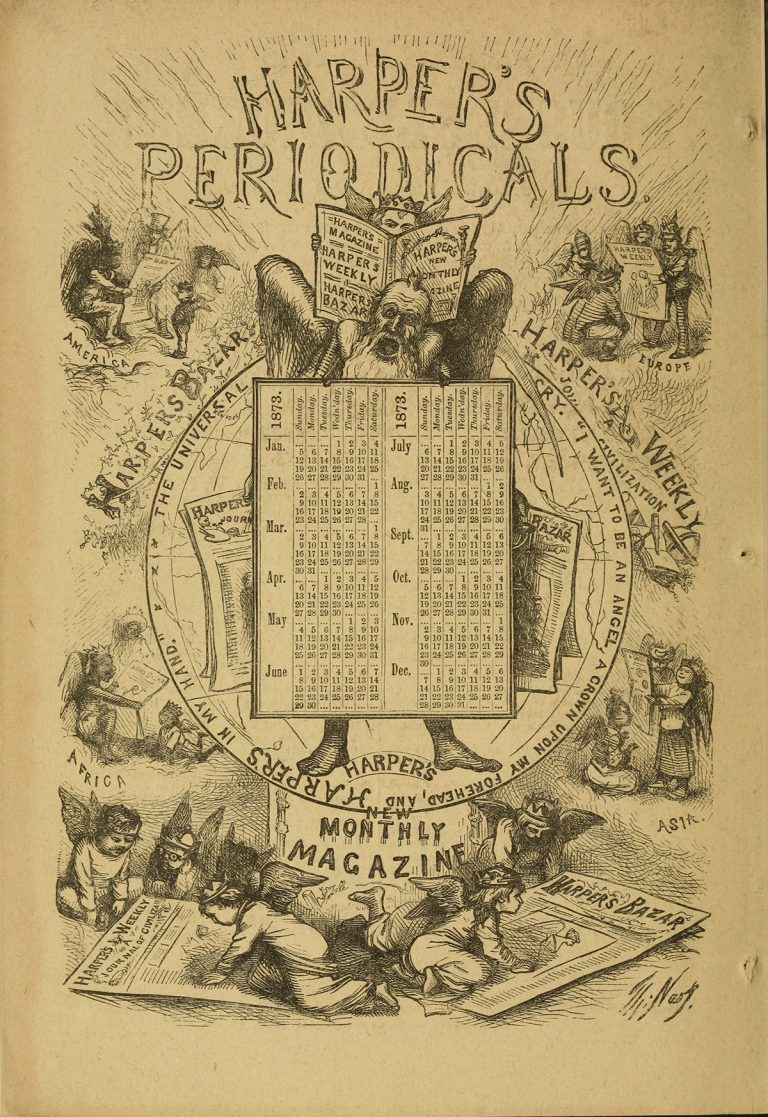 An ad promoting all of the Harper periodicals: Harper's Weekly, Harper's New Monthly, and Harper's Bazaar.