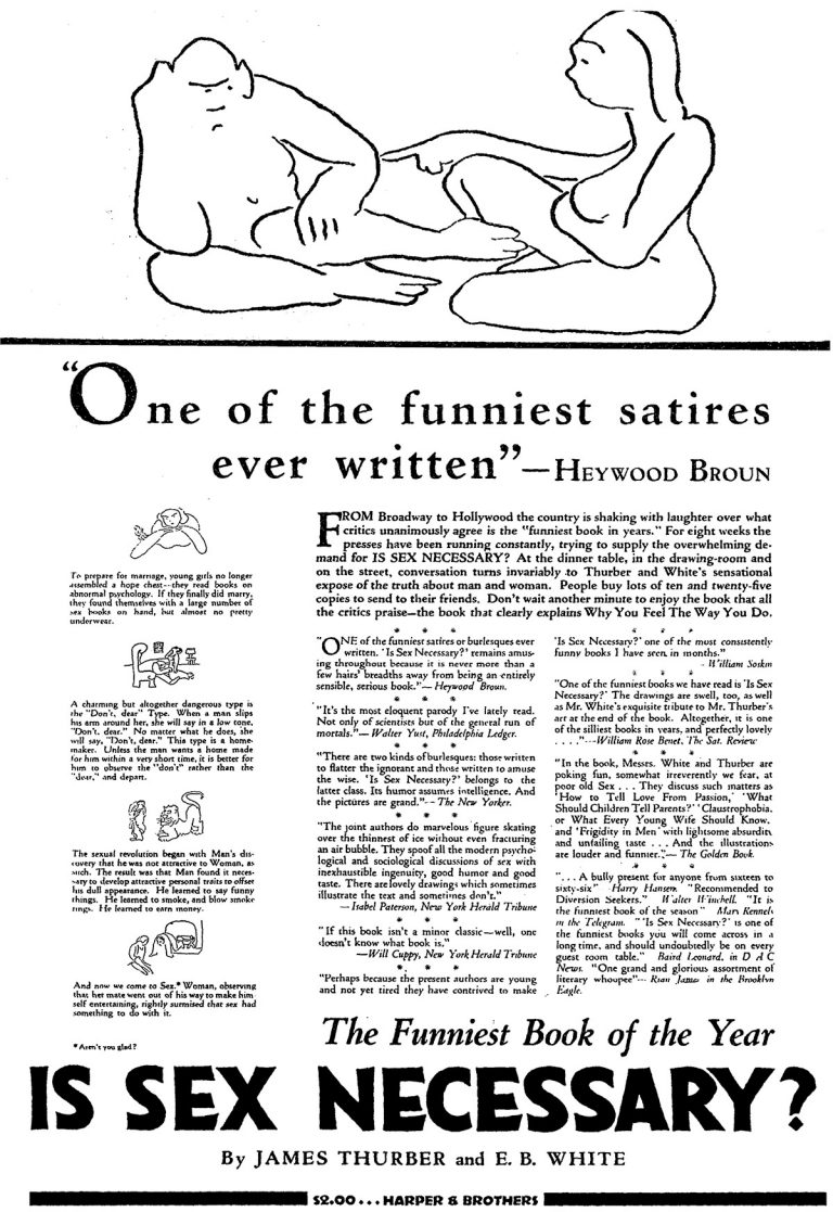 An advertisement for Is Sex Necessary? by James Thurber and E. B. White, published in The New York Times on January 19, 1930.