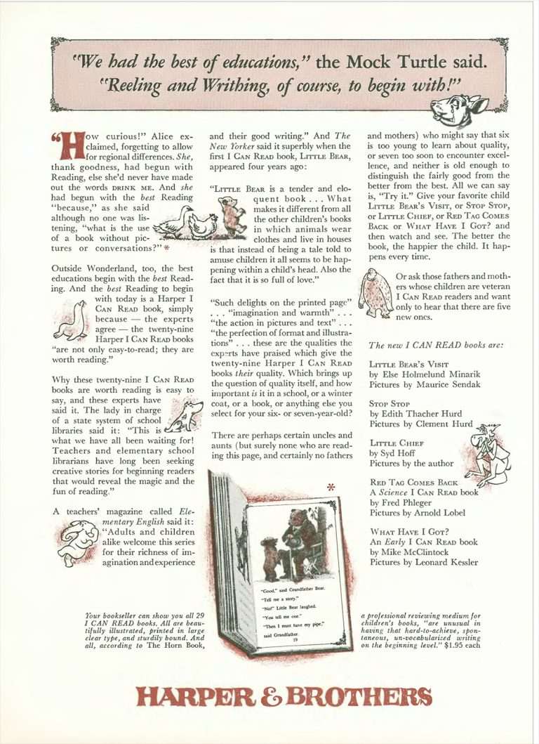 December 1961 I Can Read! advertisement placed in The New Yorker.