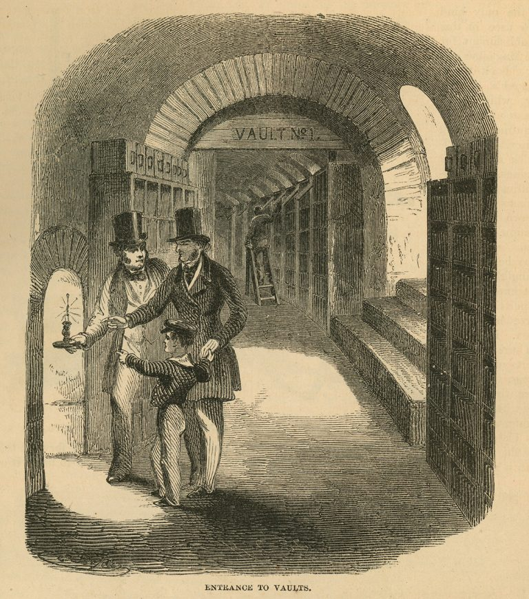 Vaults in the Harper & Brothers offices where stereotyped plates were stored (circa 1855).