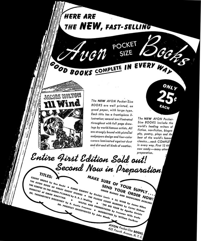Here are the NEW, Fast Sedlling Avon Pocket size Book. Photocopy of a newspaper add from 1941.