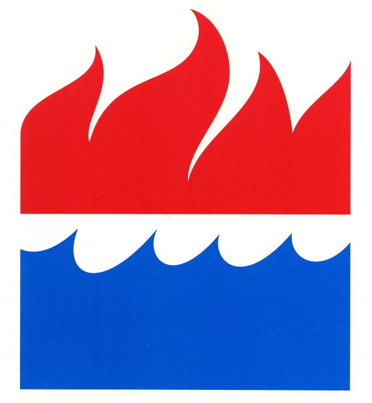 "The Harper ""fire"" and Collins ""water"" colophons, which were combined to create today's ""fire and water"" HarperCollins logo."