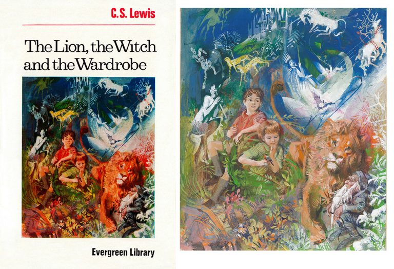 Original cover artwork for a 1965 edition of The Lion, the Witch and the Wardrobe by C. S. Lewis