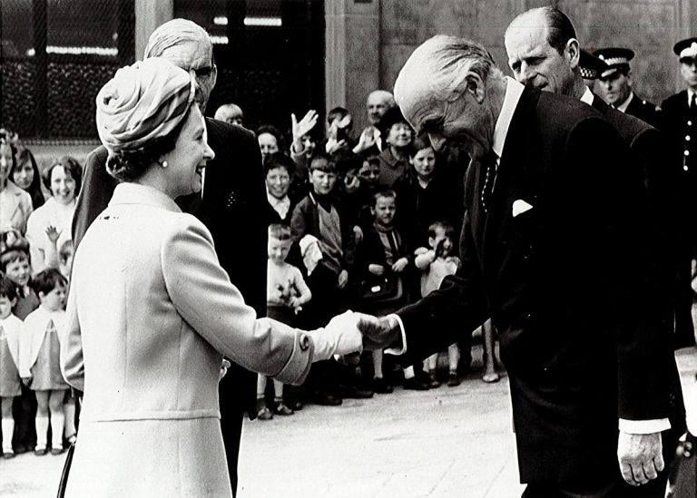 Queen Elizabeth II visiting the Collins Glasgow offices