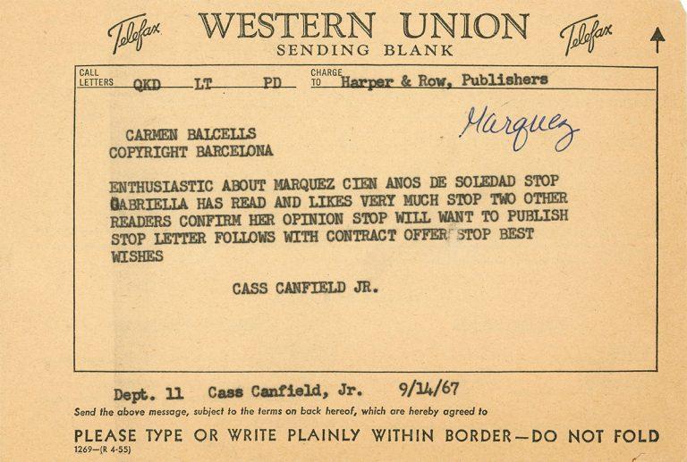 Telegram regarding the publication of One Hundred Years of Solitude