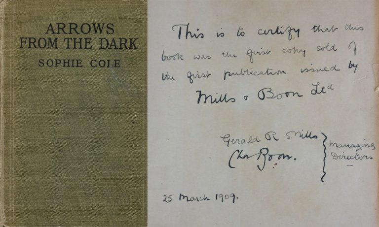 Signed copy of the first book ever published by Mills & Boon