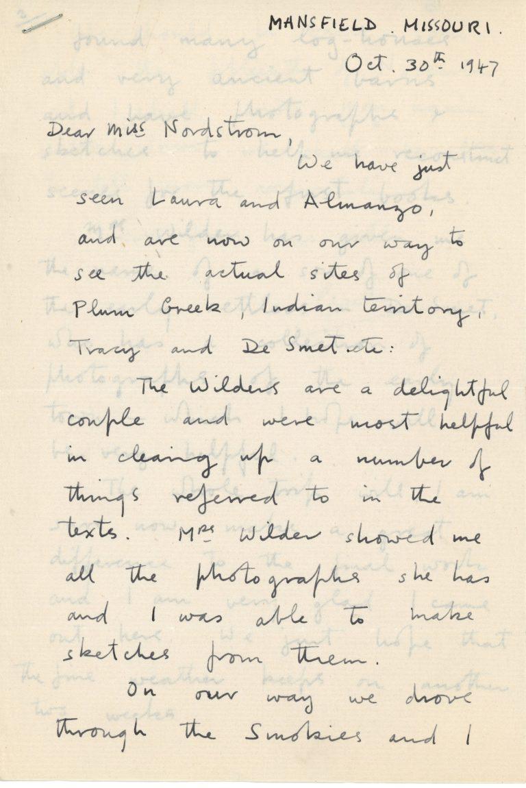 Letter from Garth Williams regarding illustrations for the Little House series