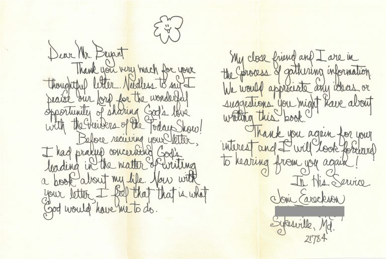 Original editorial correspondence regarding Joni Eareckson Tada
