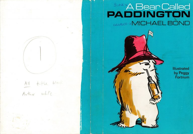 An early cover layout for A Bear Called Paddington by Michael Bond, published by Collins in 1958.