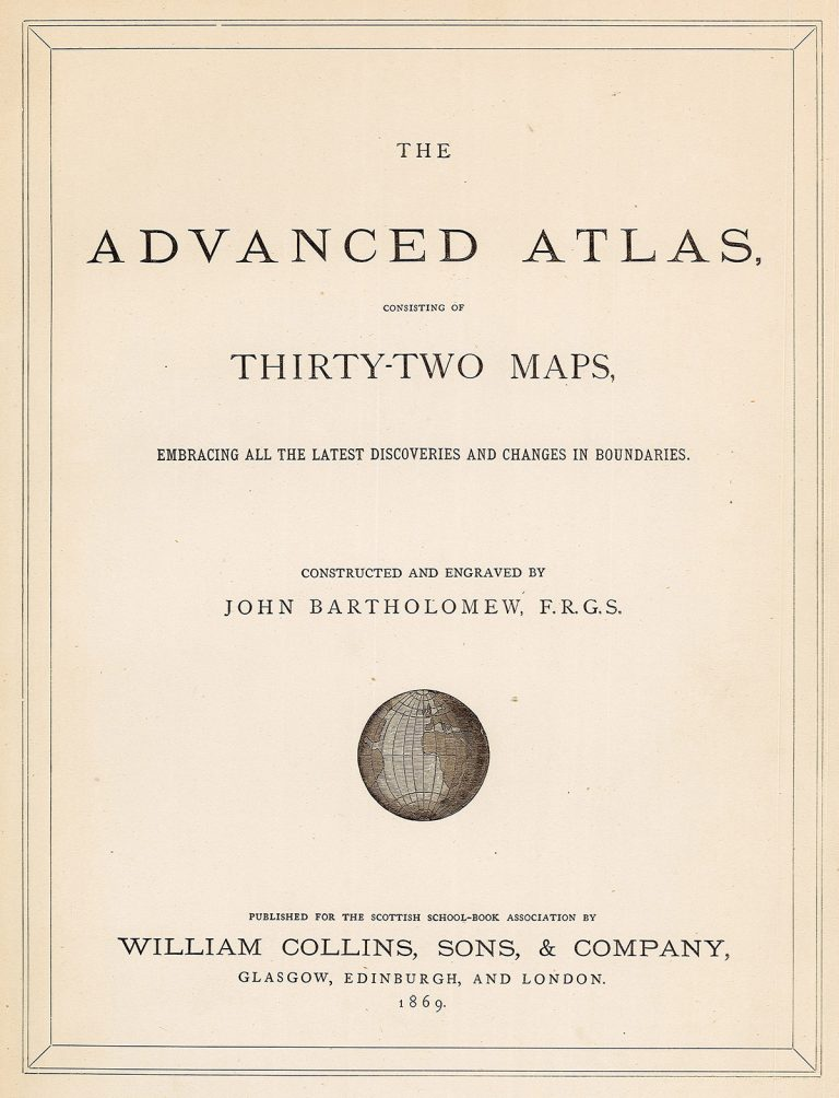 Title page of an 1869 Collins atlas, printed for the Scottish School Book Association and featuring Bartholomew maps.