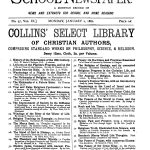 An advertisement for the Collins Select Library of Christian Authors, which ran in The School Newspaper on January 2, 1882.
