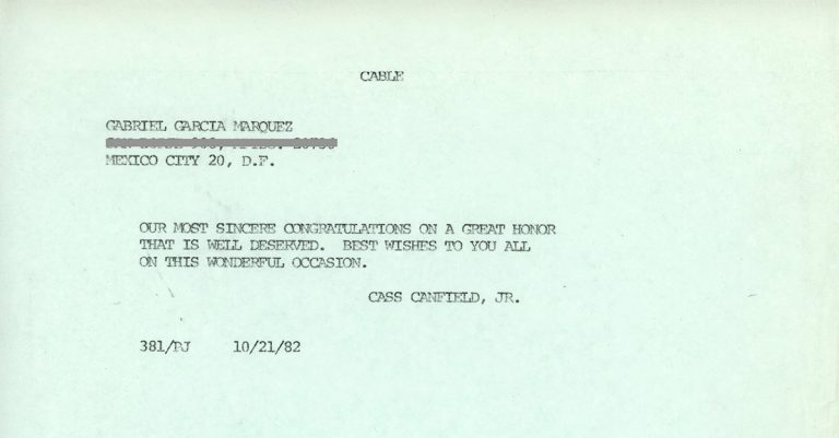 Telegram dated October 21, 1982, in which Harper editor Cass Canfield Jr. congratulates Gabriel García Márquez on winning the Pulitzer Prize for One Hundred Years of Solitude.