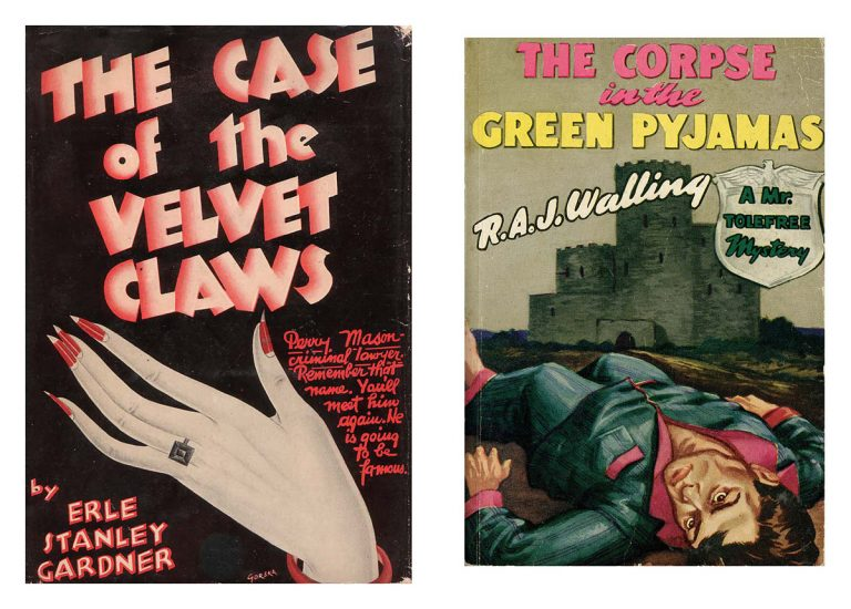 The Case of the Velvet Claws by Erle Stanley Gardner (William Morrow, 1933) and The Corpse in the Green Pyjamas by R. A. J. Walling (Avon Books, 1941).