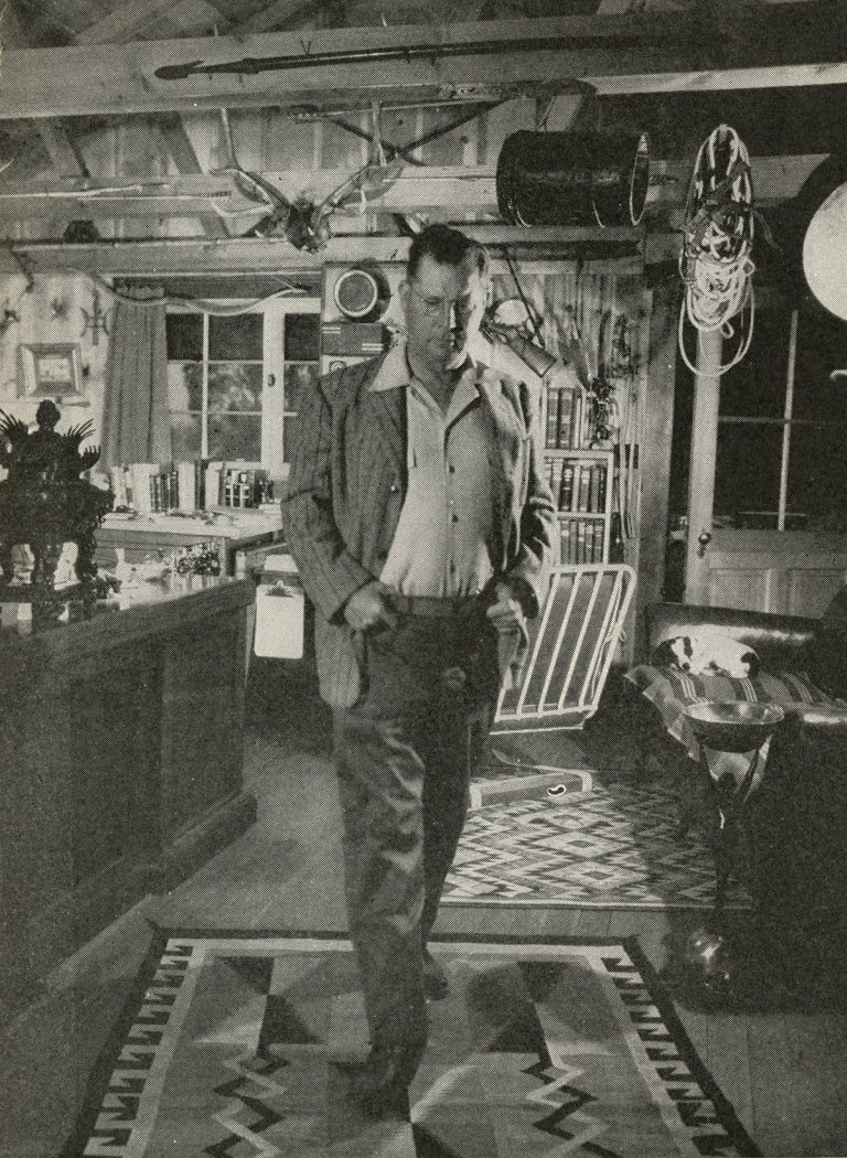 Perry Mason author Erle Stanley Gardner pacing the floor of his study while working out a tough plot. One of his secretaries claimed Gardner sometimes paced 100 miles per book.