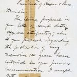 A 1900 letter from Mark Twain (Samuel Clemens) to Harper & Brothers confirming their publishing agreement.
