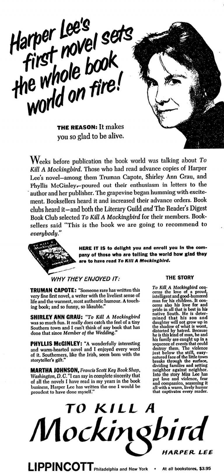 A New York Times advertisement announcing the publication of To Kill a Mockingbird by Harper Lee, which ran on July 17, 1960.