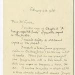 """A letter from J. R. R. Tolkien to his editor regarding the first chapter of his """"sequel"""" to The Hobbit, titled """"A Long-expected Party""""—which would become the first chapter of The Fellowship of the Ring."""