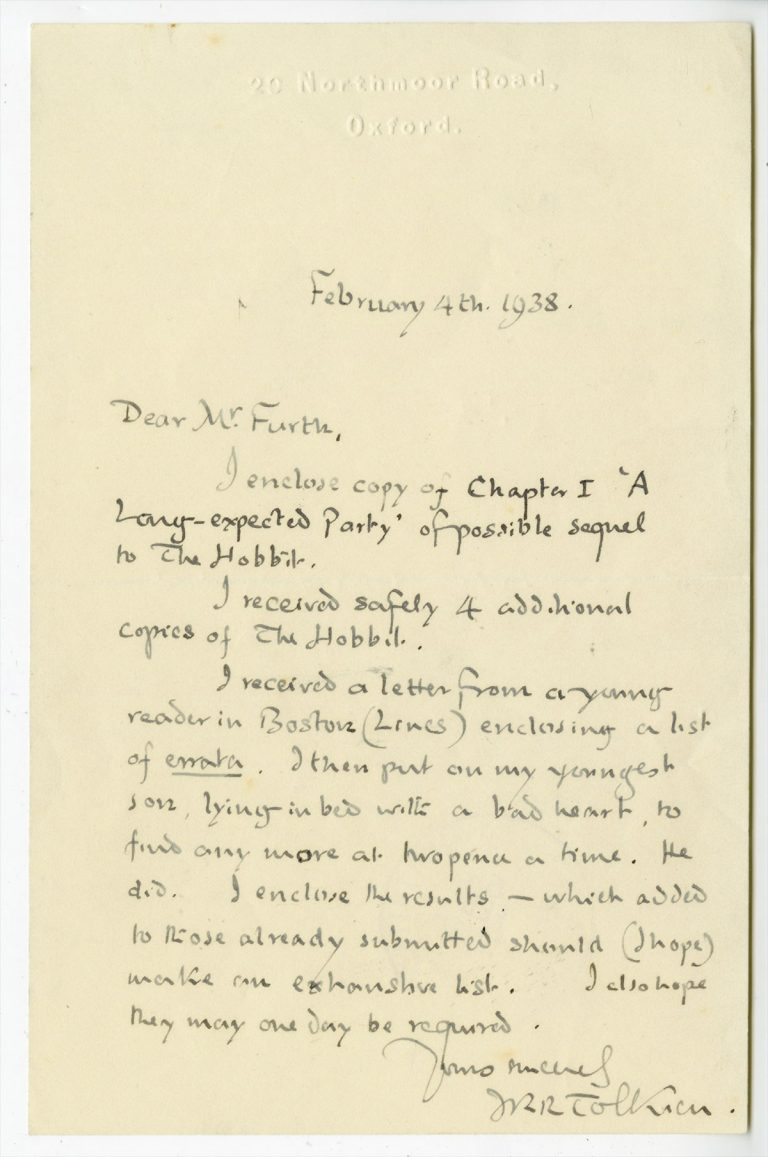 "A letter from J. R. R. Tolkien to his editor regarding the first chapter of his ""sequel"" to The Hobbit, titled ""A Long-expected Party""—which would become the first chapter of The Fellowship of the Ring."