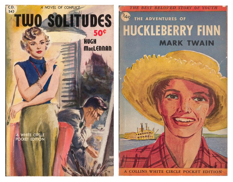 Canadian White Circle Pocket Editions of The Adventures of Huckleberry Finn by Mark Twain (1946) and Two Solitudes by Hugh MacLennan (circa late 1940s).