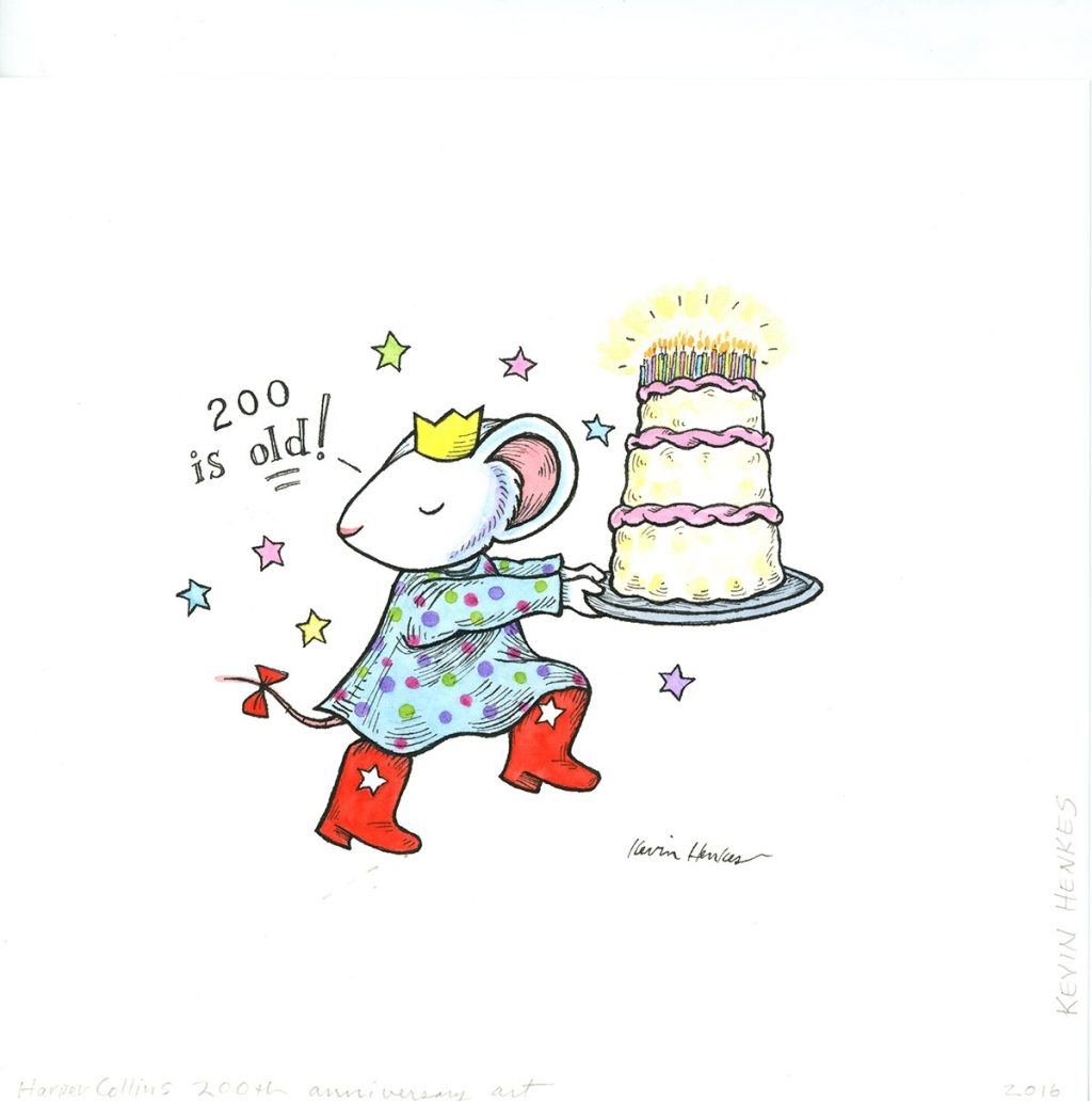 Sketch by Kevin Henkes. Mouse in red boots carries a birthday cake with 200 candles. 200 is old!