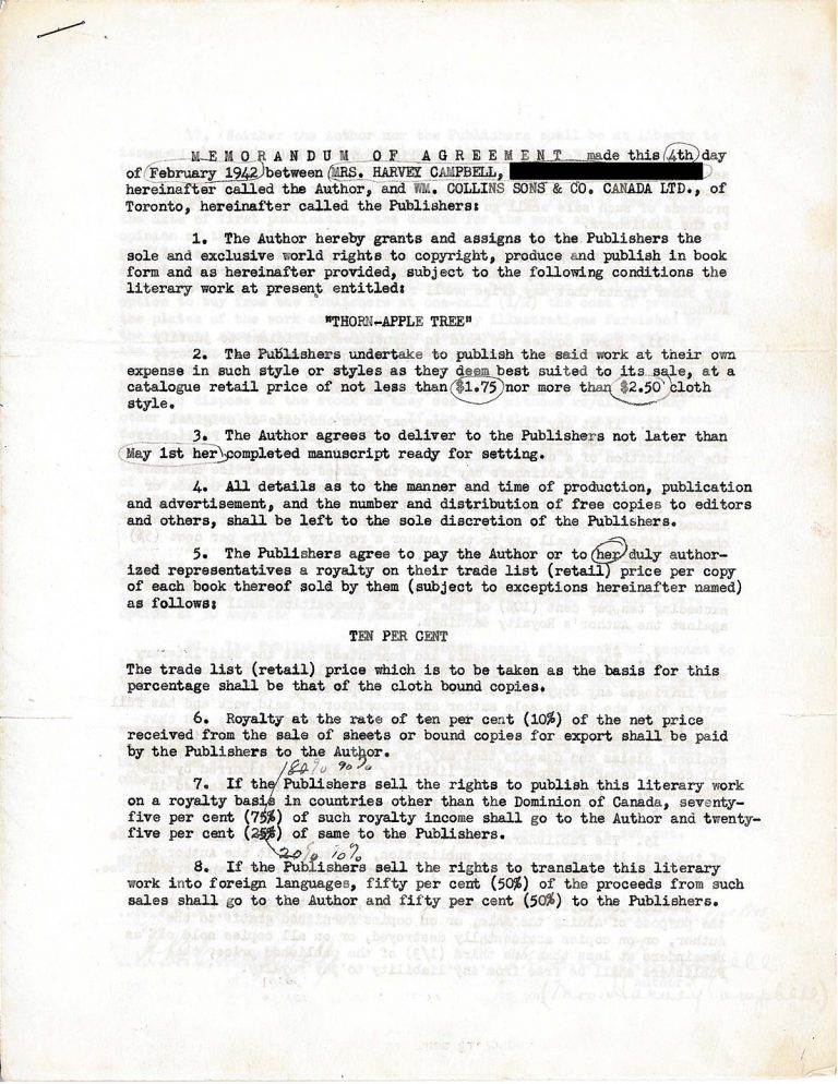 Original contract for Thorn-Apple Tree
