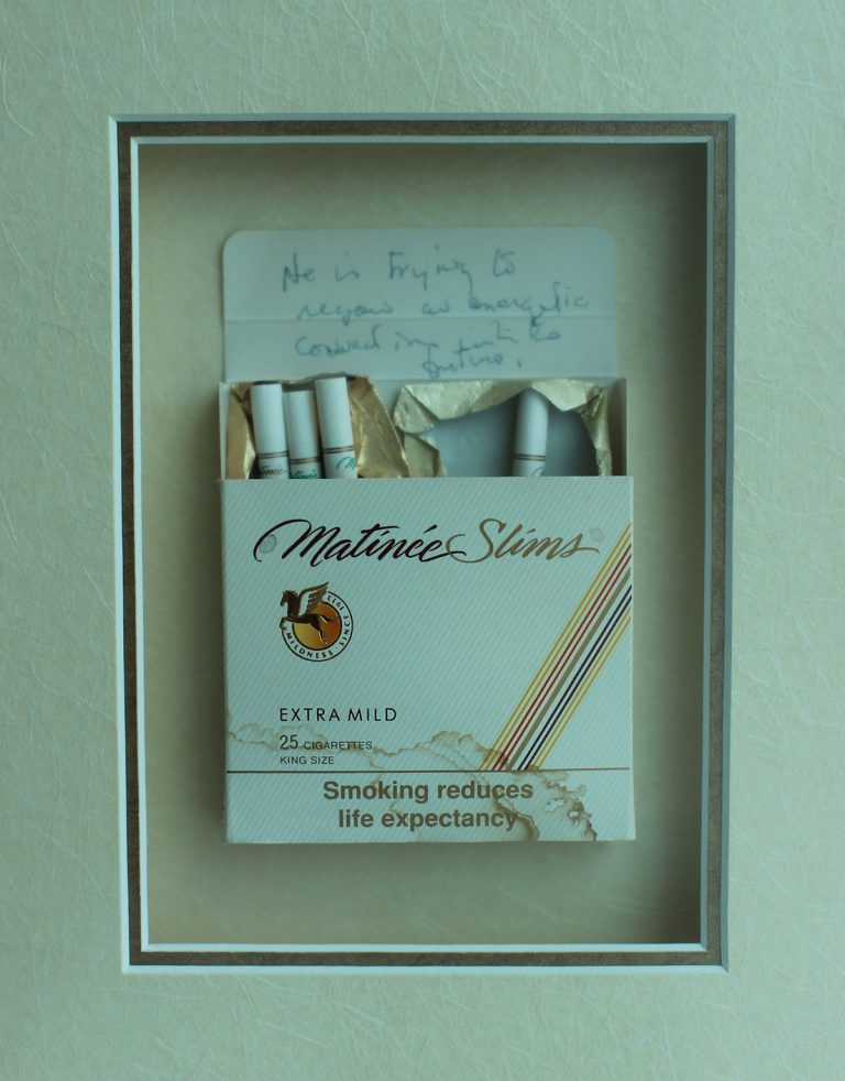 Cigarette packet with Timothy Findley's handwritten book proposal for Pilgrim