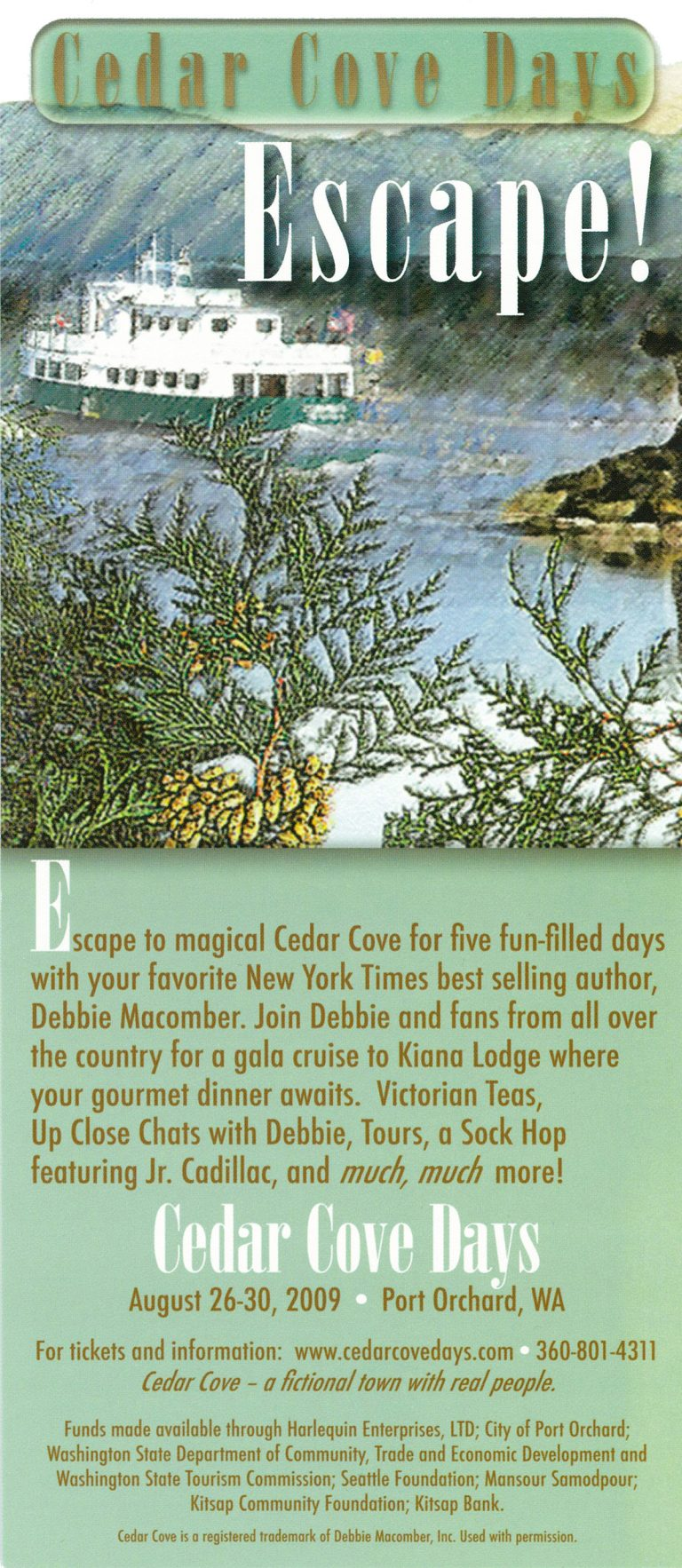Brochure from the 2009 celebration of Debbie Macomber's fictional town of Cedar Cove