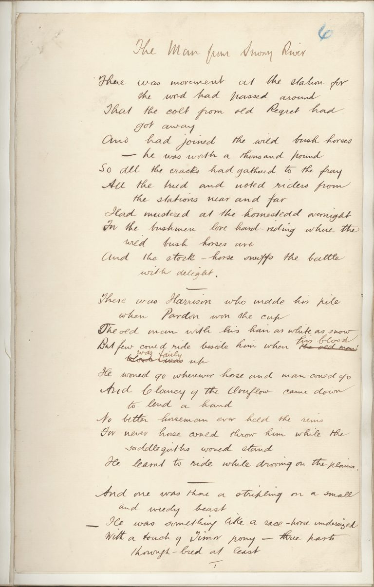 "Page from the original manuscript of ""The Man from Snowy River"""