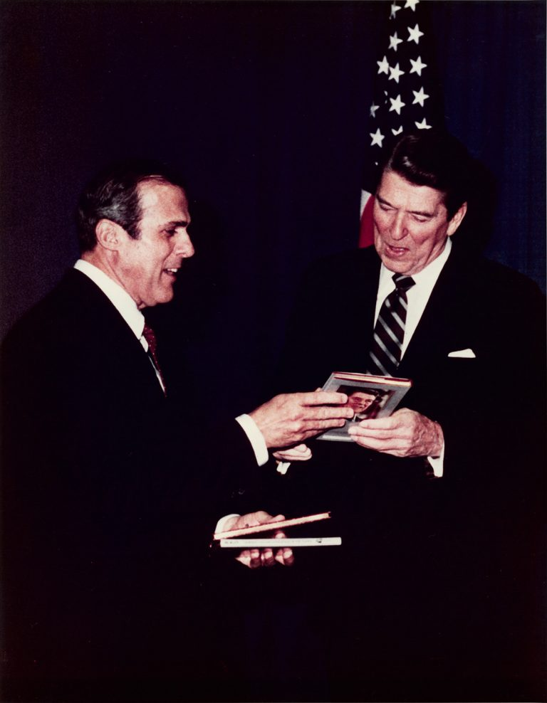 Sam Moore with Ronald Reagan