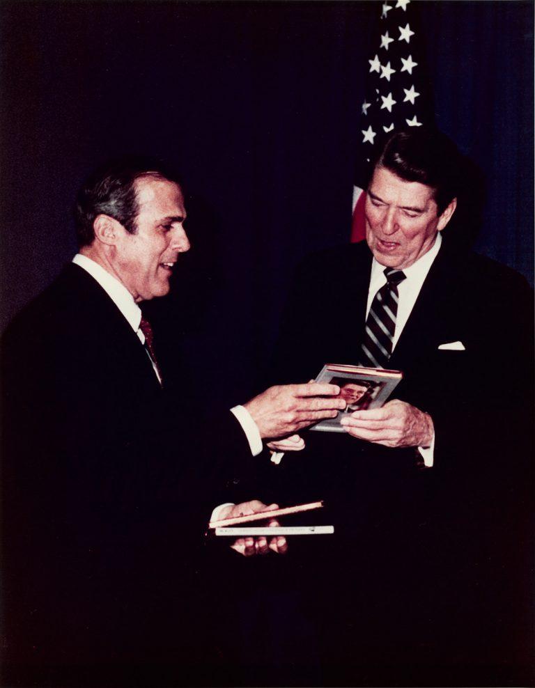 Sam Moore with Ronald Reagan