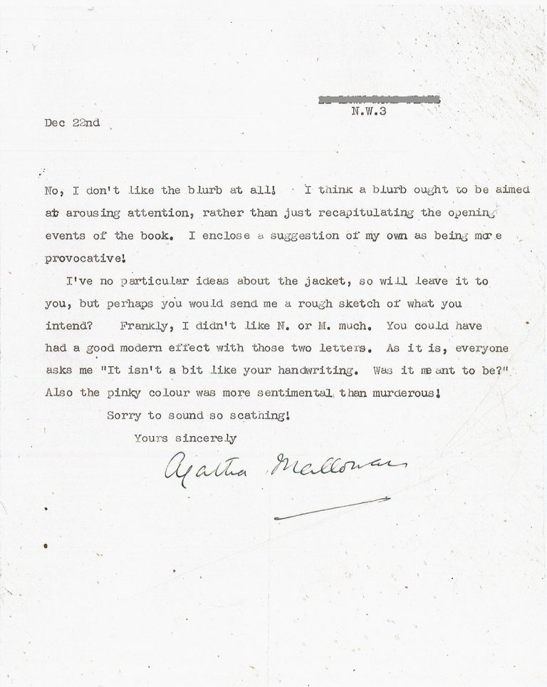 Letter from Agatha Christie