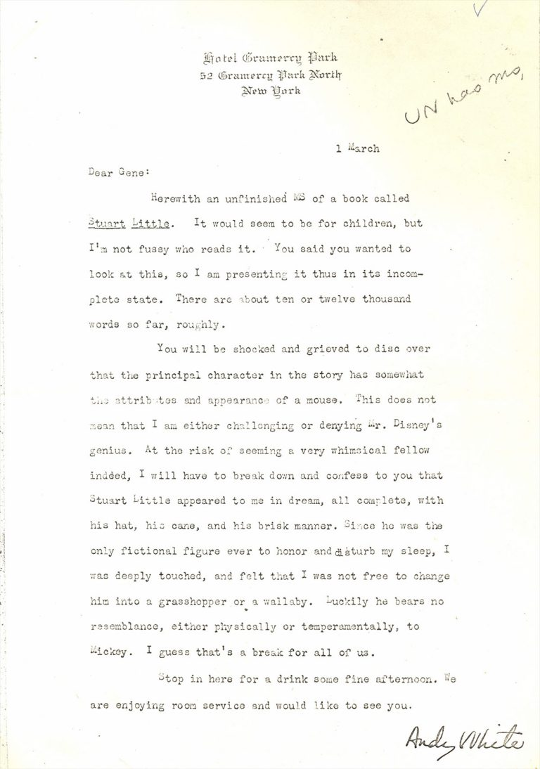 Letter from E. B. White regarding Stuart Little