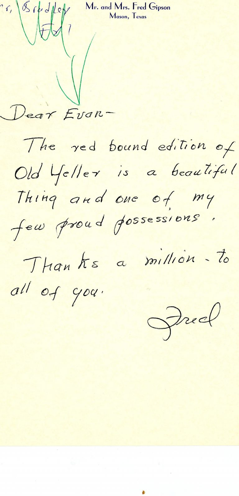Letter from Fred Gipson regarding Old Yeller