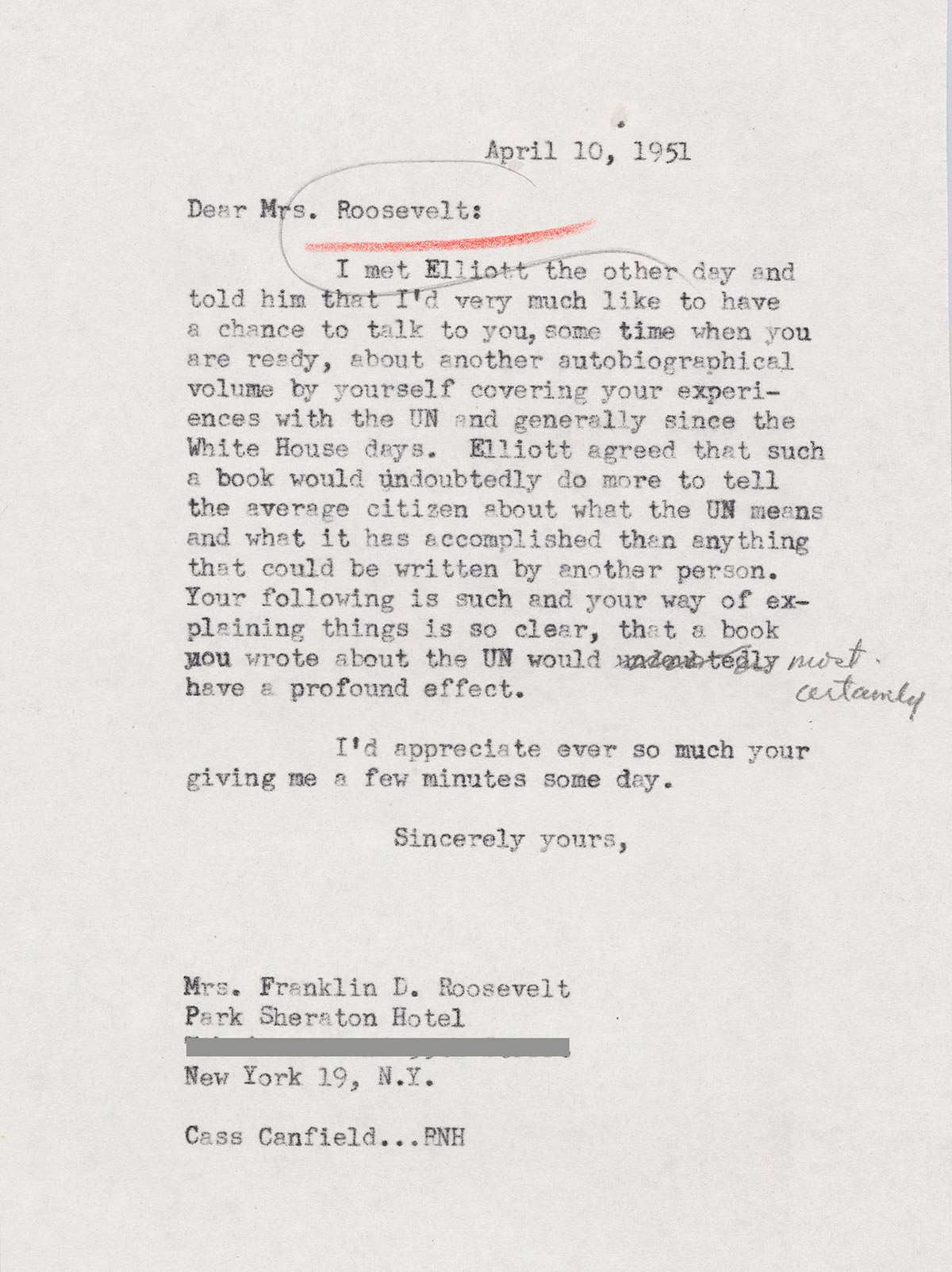 letter to eleanor roosevelt regarding a new