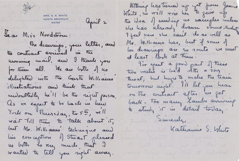 Letter from Katherine White (E. B. White's wife) regarding Stuart Little's illustrations