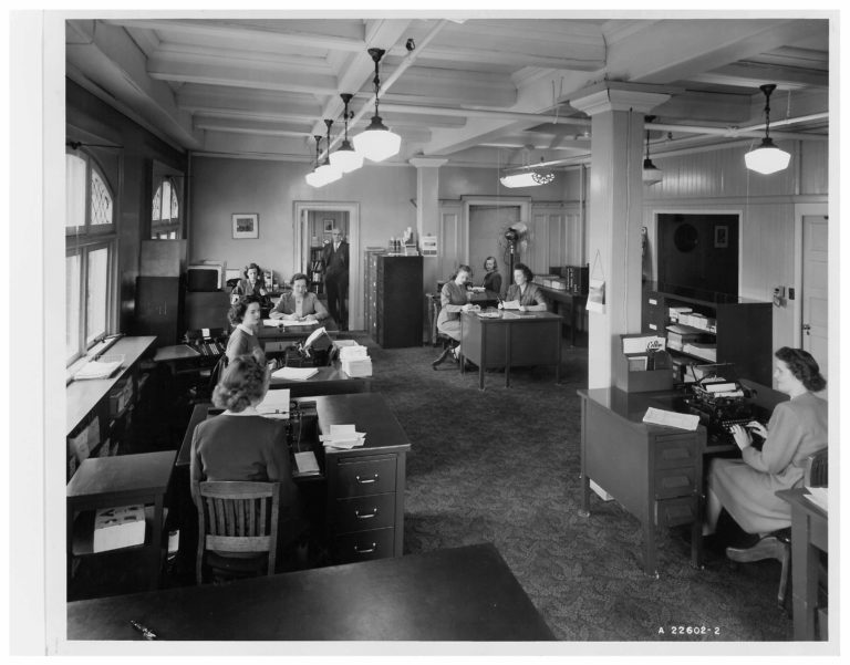Employees in the Collins Canada general office, circa 1940s
